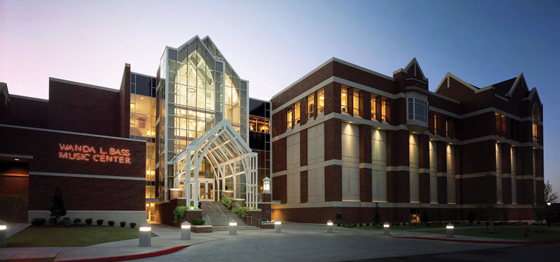 Exterior photo of the Wanda L. Bass School of Music Building